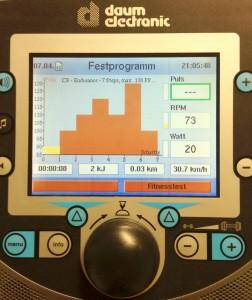 Herz-Kreislauftestung bei medifitness Meinersen, Fahrradcomputer